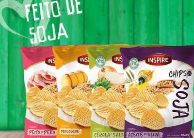 LA FOOD - Os Chips de Soja Inspire são feitos a base de soja não transgênica,